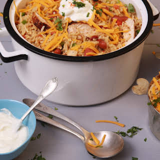White Cheddar Queso Chicken Chili.
