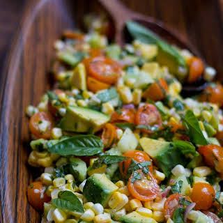 Fresh Corn, Tomato, Avocado and Basil Salad.