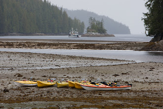 Photo: Using a telephoto lens, I can get the kayaks and our distant Mothership in the same shot.