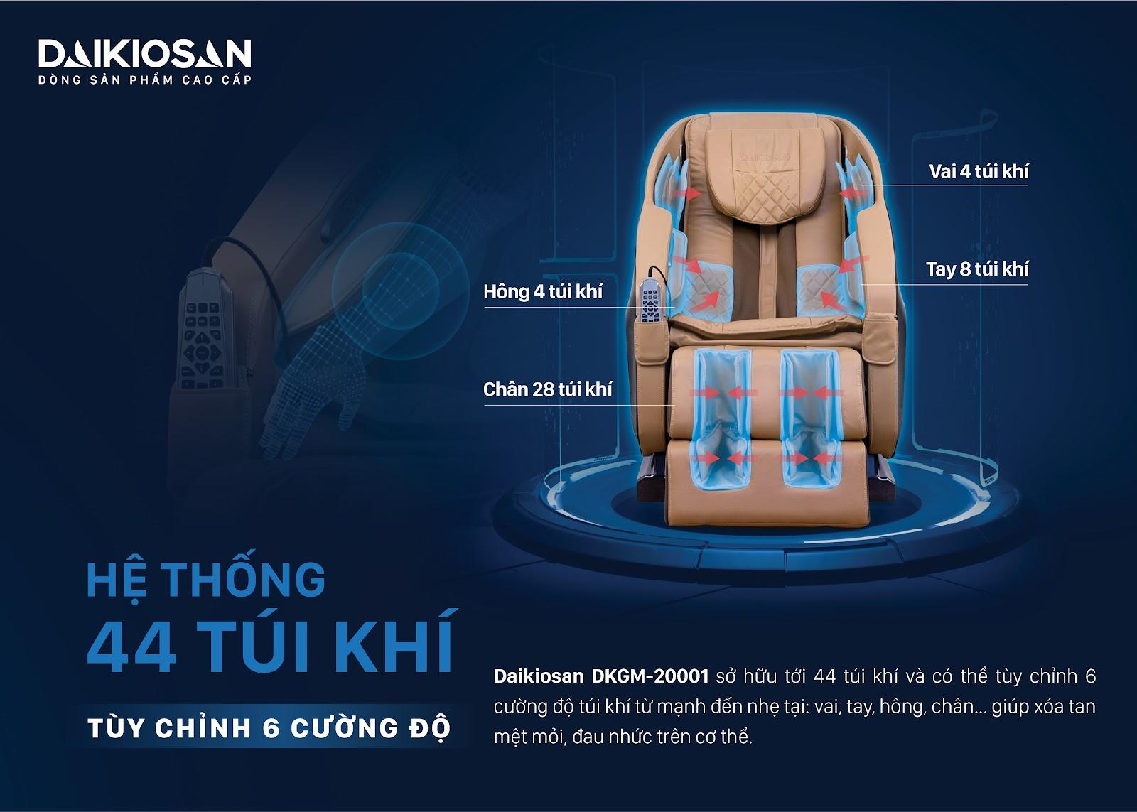 hệ thống 44 túi khí của ghế massage Daikiosan