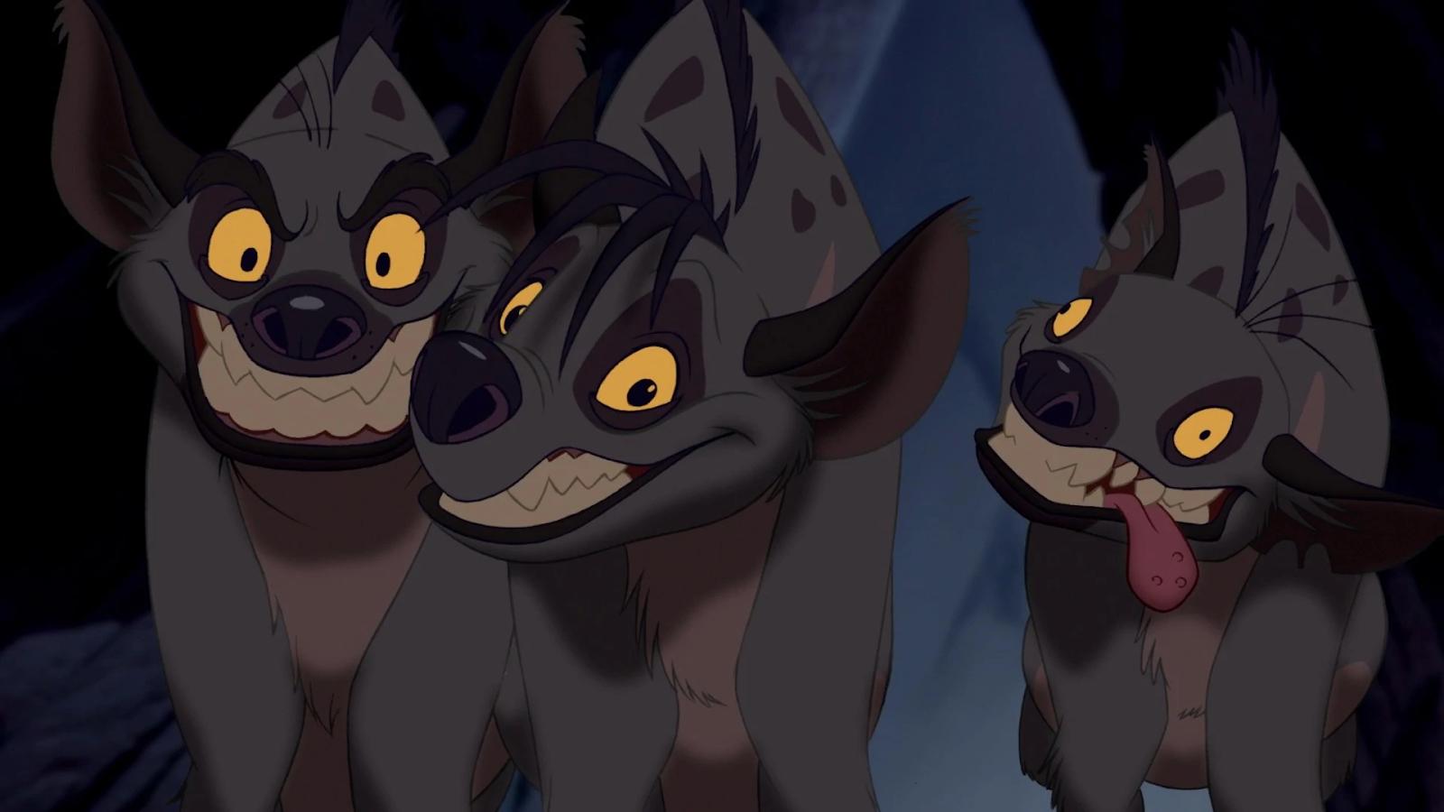 Ilustração das hienas do filme O Rei Leão.