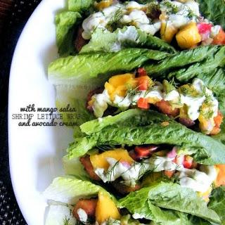 Shrimp Lettuce Wraps with Mango Salsa & Avocado Cream Sauce