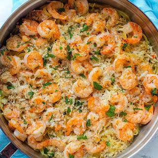 Garlic Parmesan Shrimp Scampi Pasta! Recipe