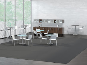 Photo: White Escalate Chair/Stools with Cohere Hospitality Tables