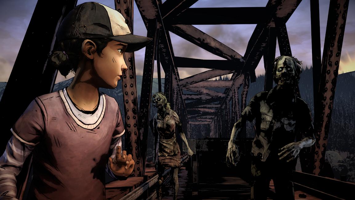 The Walking Dead Season Two Clementine on bridge