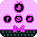 Purple cute girl knot 3D theme icon