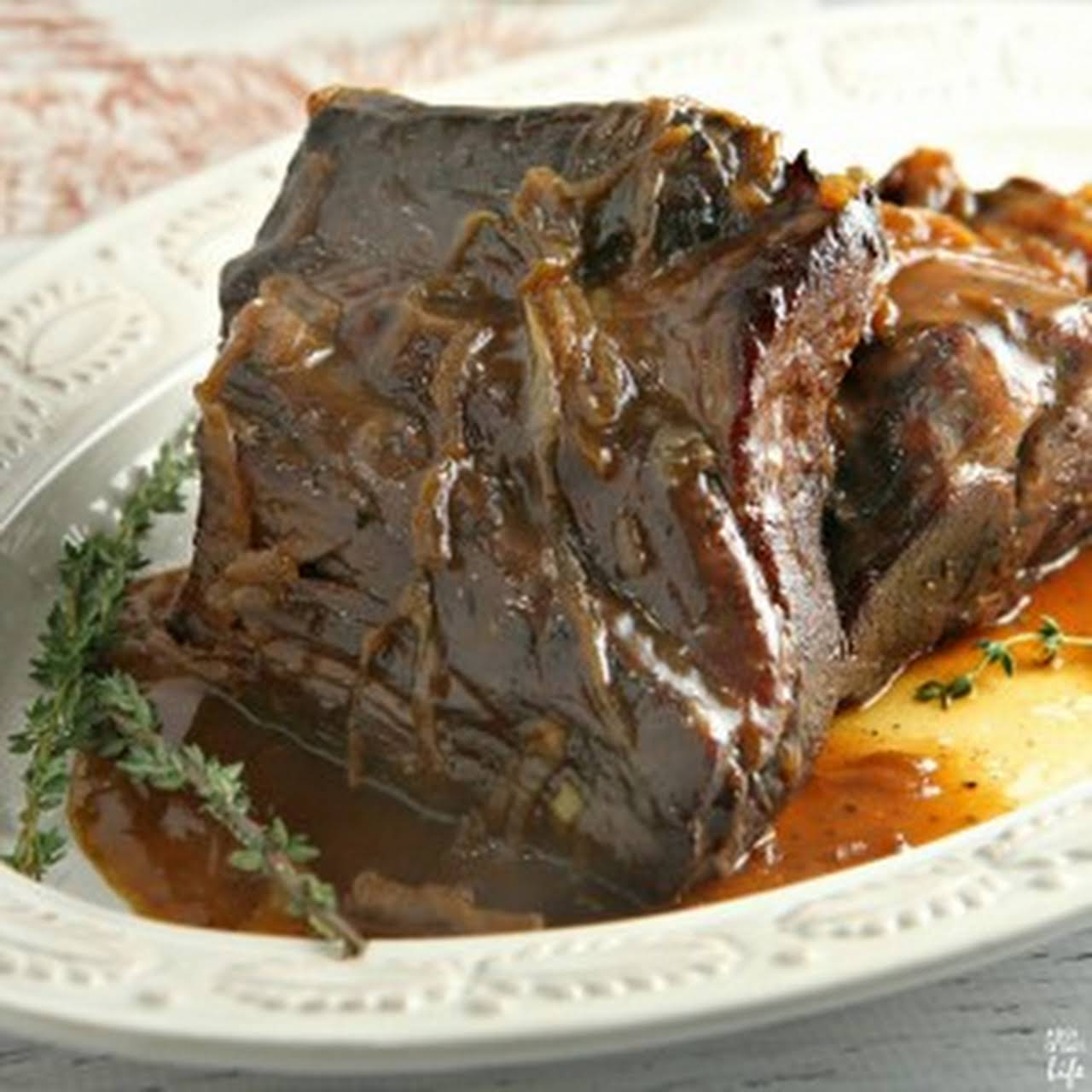 Pot Roast  behind Coffee Gravy (and Caramelized Onions)