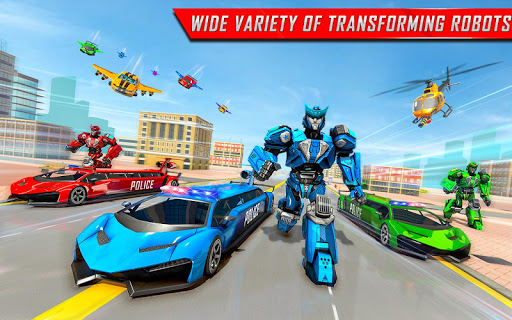 Flying Limo Robot Car Transform: Police Robot Game screenshots 7