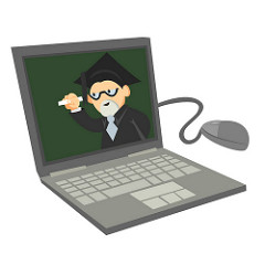 Illustration of a teacher or professor leading an online class.