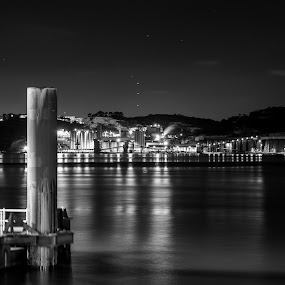 by Leonor Machado - Black & White Landscapes ( tagus river, 2014, black and white, night, lisbon )