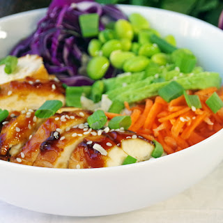 Easy Rice Bowl Recipe with Chicken and Edamame.