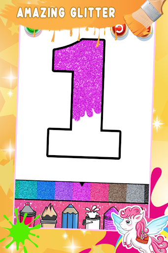 Glitter Number Coloring and Drawing Book For Kids 5.0 screenshots 3