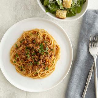 Spaghetti Bolognese with Caesar Salad.