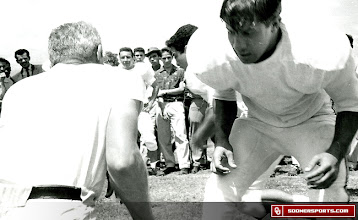 Photo: Wilkinson coaching Mexican players on a June, 1957 visit to Mexico City.