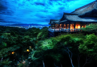 Photo: The Treetop Temple Protects Kyoto  Photographed here is the Kiyomizu-dera temple in Kyoto. The city is known for its traditional Japanese architecture, slower-paced life, natural beauty, graceful geishas, and zen peacefulness. I probably could have stayed in Kyoto capturing scenes the entire trip. I remained here until the sky turned black, and then I headed back down some winding streets to find an old small restaurant where the food was mysterious and every course was served with a gentle bow.  from the blog at www.stuckincustoms.com