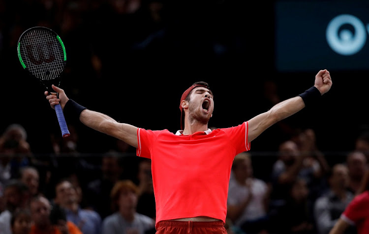Russia's Karen Khachanov celebrates after winning the final against Serbia's Novak Djokovic at AccorHotels Arena in Paris, France, November 4 2018. Picture: REUTERS/GONZALO FUENTES