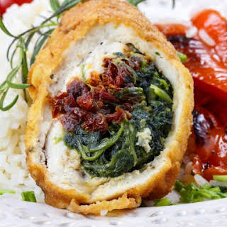 Slow Cooker Stuffed Chicken Breast With Feta, Spinach, And Tomatoes.