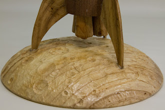 "Photo: Joe Barnard 8"" x 16"" drink stand [walnut, chestnut, American yellowwood] (detail)"