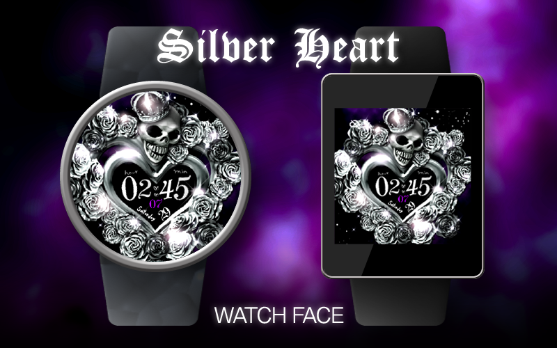 Silver Heart Watch Face- screenshot