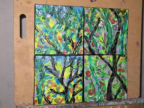 Photo: Gone Wild four paintings Oil 40cmx40cm $60