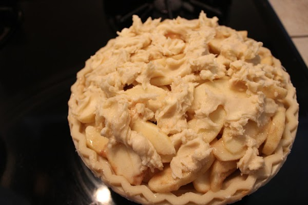 Mix sugar and flour and cut in soft butter.  Sprinkle this topping over...
