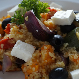 Roasted Mediterranean Vegetables with Bulgar Wheat & Feta