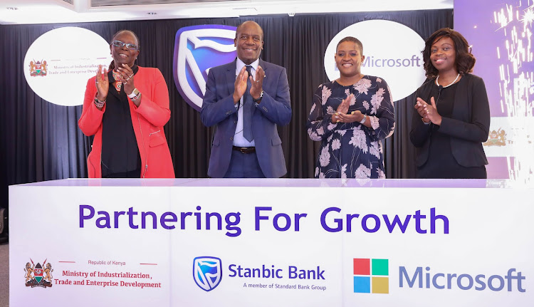 CS Ministry of Industrialization, Trade and Enterprise Development, Betty Maina, Chief Executive for Stanbic Bank Kenya, Charles Mudiwa, Stanbic Kenya Foundation Chair, Ory Okolloh and Microsoft Kenya Country Manager, Kendi Nderitu