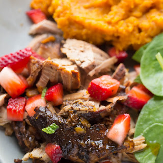 Slow Cooker Balsamic Pork Tenderloin with Strawberry Salsa.