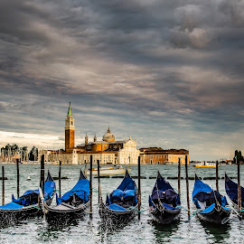 Church of San Giorgio Maggiore by David Long - City,  Street & Park  Historic Districts ( san giorgio maggiore, gondollas, venice )