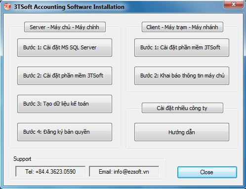 Cài đặt phần mềm kế toán 3tsoft