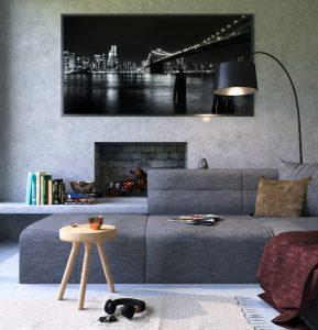 A big floor lamp in a living room