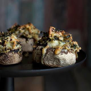Artichoke and Quinoa Stuffed Mushrooms.