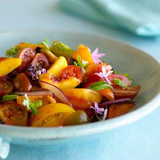 Heirloom Tomato, Summer Peach, and Fresh Herb Gazpacho Salad