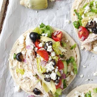 Easy Mediterranean Chicken Wraps with Hummus.