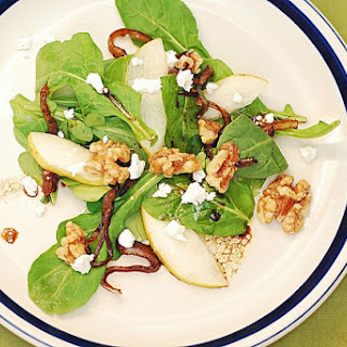 Arugula Salad with Caramelized Onions, Walnuts, Pears, and Gorgonzola Cheese Recipe