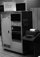 Photo: Merit Network PDP-11 based Primary Communications Processor (PCP), second floor, Computing Center, University of Michigan, Ann Arbor, Michigan, USA, c. 1975