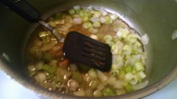 In a large nonstick skillet, cook leeks, stirring, on medium heat for 6 to...