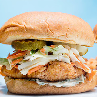 Fried Chicken Cutlet Sandwich with Buttermilk Slaw and Herbed Mayo.