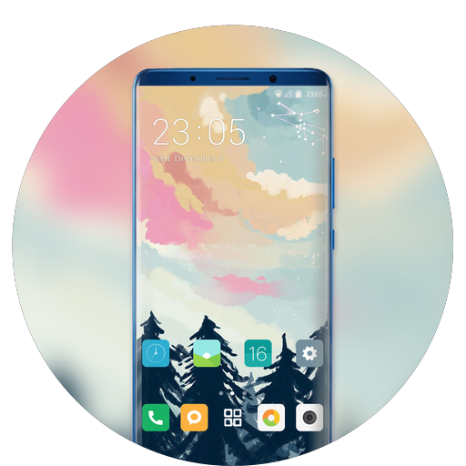 Theme for ink painting forest wallpaper icon
