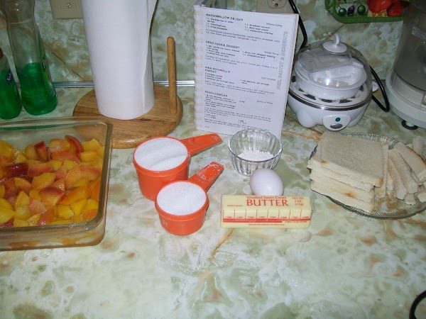 Ingredients are assembled for making cobbler.