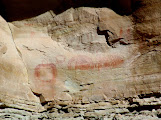 Photo: Pictographs high in the cliffs