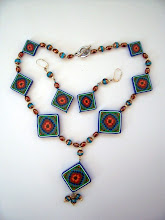"Photo: PCS- 105.  This is a cane work.  Beads are: 1 1/8"", 7/8"", 5/8"".  The necklace is 19"" long and earrings are 3"" long. $99.00"