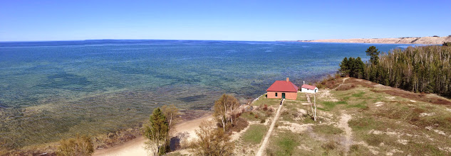 Photo: Looking towards The Logslide from just below the lens room of Au Sable Light Station. I believe this lighthouse is 87 feet tall and the lens shines about 110 feet above Lake Superior (thought I may have heard the ranger say 130 but other information suggests less).