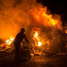 Bonfire Night by Sarah Tregear - Abstract Fire & Fireworks ( bonfire, flames, november, st just, fireman, guy fawkes, fire, cornwall,  )