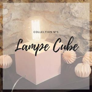 lampe en béton en forme de cube et avec ampoule à filament globe style edison création fait-main en béton ciré par Junny créatrice d'objet déco en béton