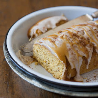Pumpkin Pound Cake Topped With Salted Caramel Frosting.