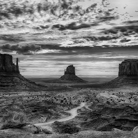 A summer to remember ..... by Tin Tin Abad - Black & White Landscapes ( clouds, butte desert, black and white, monument, sunrise )