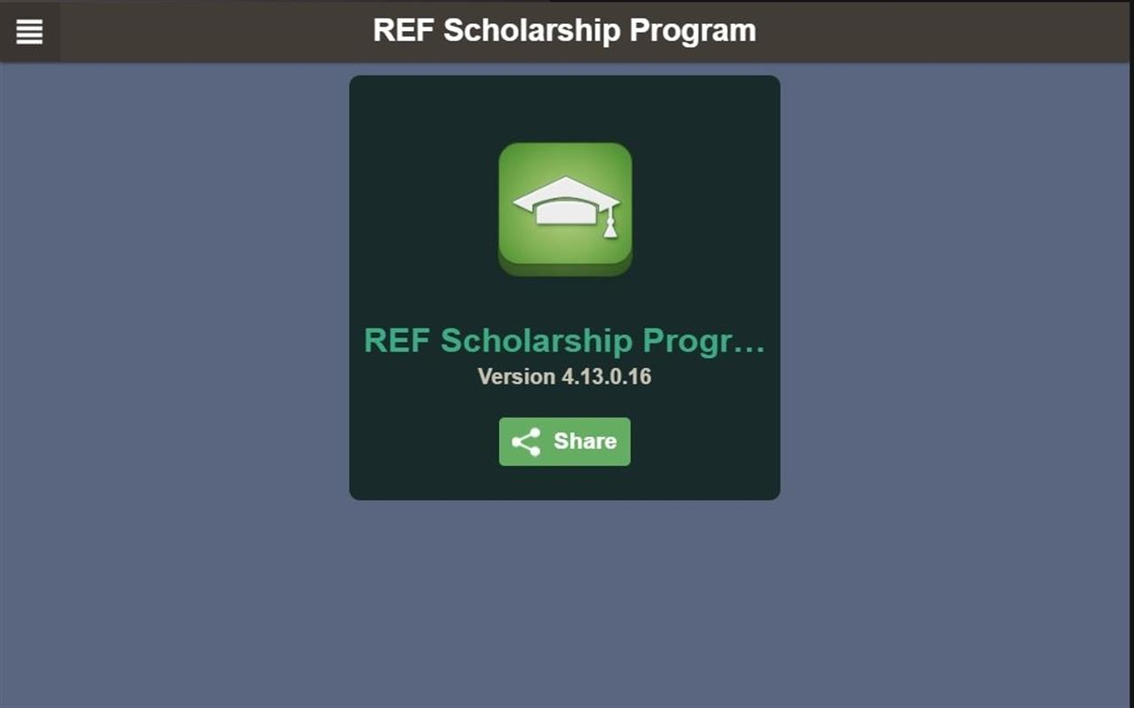 REF Scholarship Program- screenshot
