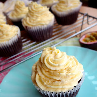 Dark Chocolate Cupcakes with Passionfruit Buttercream
