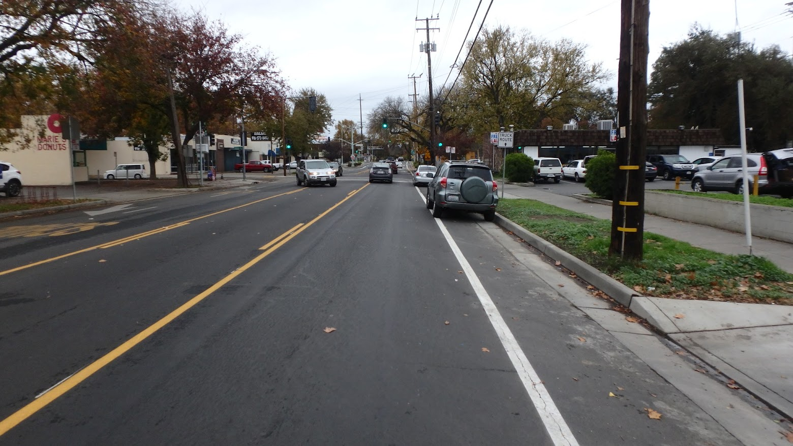 Cars parked in the new bike lanes